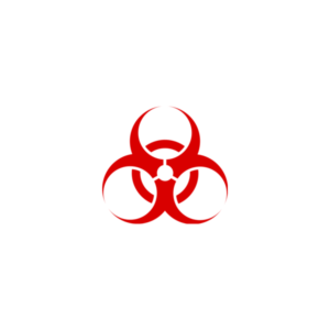 "Badge icon ""Biohazard (184)"" provided by The Noun Project under The symbol is published under a Public Domain Mark"