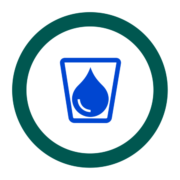 "Badge icon ""Water (3810)"" provided by The Noun Project under The symbol is published under a Public Domain Mark"